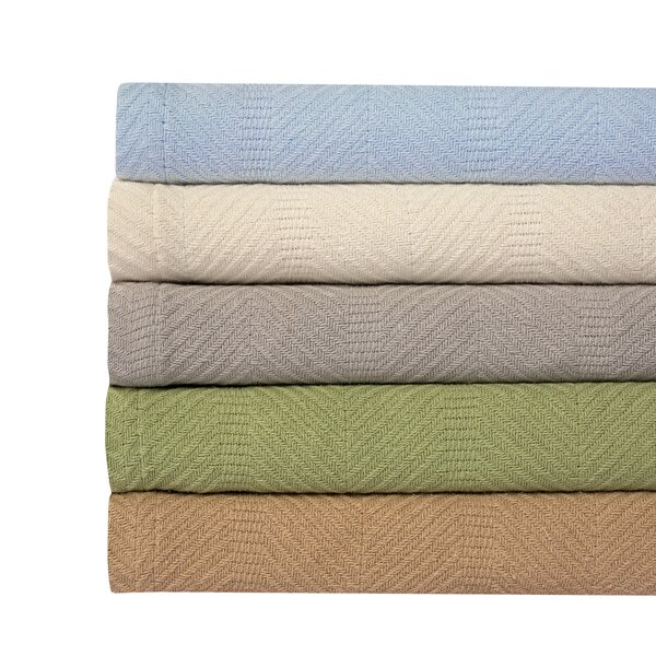 Hadley Herringbone Weave 100% Cotton Blanket by Langley Street